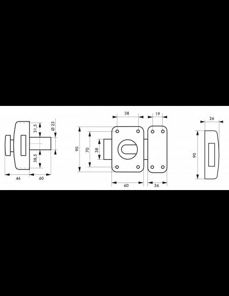 Thirard verrou de porte d 39 entr e capital bouton et cylindre 60 mm comptoir de fernand - Verrou porte d entree ...