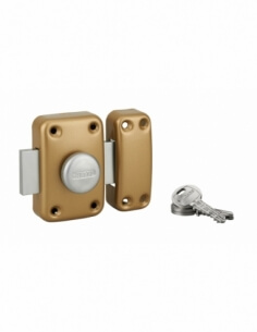 Thirard - Verrou de porte d'entrée capital à bouton et cylindre à goupilles 40 mm verni 3 clés Verrous