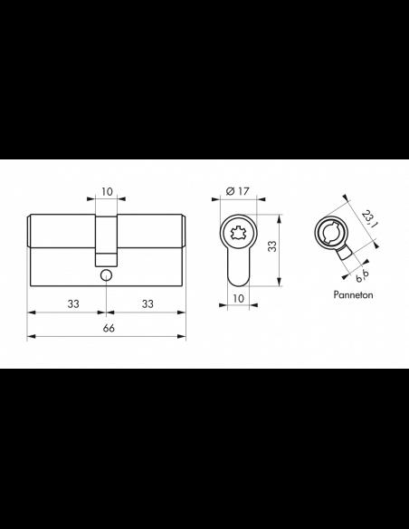 dimension cylindre de serrure à double entrée 33x33
