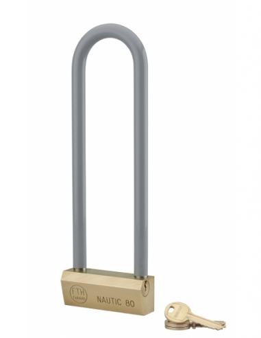 Cadenas NAUTIC 80mm anse haute 215 acier gainée - 3 clés