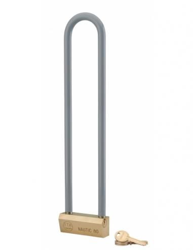 Cadenas NAUTIC 80mm anse haute 300 acier gainée - 3 clés   Cadenas NAUTIC 55mm anse haute 145 acier gainée - 3 clés