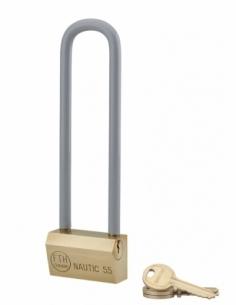 Cadenas NAUTIC 55mm anse haute 145 acier gainée - 3 clés Cadenas NAUTIC 55mm anse haute 145 acier gainée - 3 clés