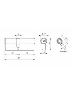 Cylindre 37 X 50 mm / FEDERAL 2 Cylindre à double entrée