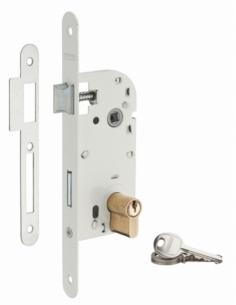 Serrure encastrable à cylindre pour porte d'entrée, axe 70mm, bouts ronds, cylindre 30x30mm, blanc, 3 clés - THIRARD Serrure ...