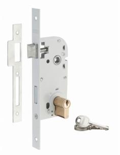 Serrure encastrable à cylindre pour porte d'entrée, axe 70mm, bouts carrés, cylindre 30x30mm, blanc, 3 clés - THIRARD Serrure...