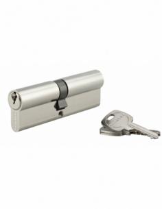 Cylindre de serrure double entrée, 45x50mm, anti-arrachement, nickel, 3 clés - THIRARD Cylindre à double entrée