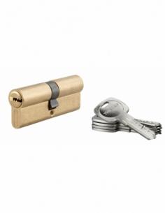 Cylindre de serrure à double entrée Tiger 6, 40x40mm, laiton, anti-arrachement, anti-perçage, 5 clés - THIRARD Cylindre à dou...