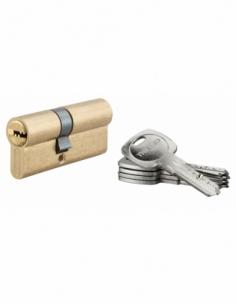 Cylindre de serrure à double entrée Tiger 6, 30x40mm, laiton, anti-arrachement, anti-perçage, 5 clés - THIRARD Cylindre à dou...