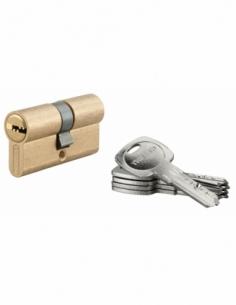 Cylindre de serrure à double entrée Tiger 6, 30x30mm, laiton, anti-arrachement, anti-perçage, 5 clés - THIRARD Cylindre à dou...