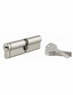 Cylindre de serrure double entrée Transit 2, 45x50mm, nickel, anti-arrachement, anti-perçage, anti-crochetage, 4 clés - THIRA...