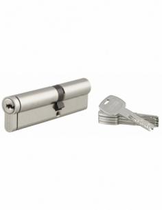 Cylindre de serrure double entrée Transit 2, 40x60mm, nickel, anti-arrachement, anti-perçage, anti-crochetage, 4 clés - THIRA...