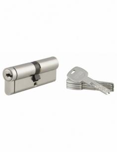 Cylindre de serrure double entrée Transit 2, 40x45mm, nickel, anti-arrachement, anti-perçage, anti-crochetage, 4 clés - THIRA...