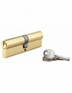Cylindre de serrure double entrée SA, 50x50mm, anti-arrachement, laiton, 3 clés - THIRARD Cylindre à double entrée