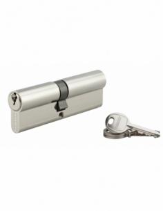 Cylindre de serrure double entrée SA, 40x50mm, anti-arrachement, 3 clés, nickel - THIRARD Cylindre à double entrée