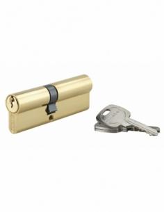 Cylindre de serrure double entrée, 40x50mm, anti-arrachement, laiton, 3 clés - THIRARD Cylindre à double entrée