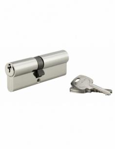 Cylindre de serrure double entrée, 40x50mm, anti-arrachement, nickel, 3 clés - THIRARD Cylindre à double entrée