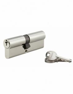 Cylindre de serrure double entrée SA, 40x45mm, anti-arrachement, nickel, 3 clés - THIRARD Cylindre à double entrée