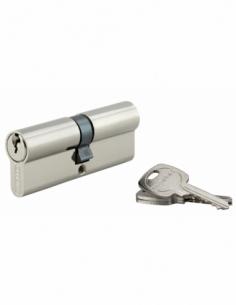 Cylindre de serrure double entrée, 40x40mm, anti-arrachement, nickel, 3 clés - THIRARD Cylindre à double entrée