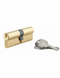 Cylindre de serrure double entrée, 40x40mm, anti-arrachement, laiton, 3 clés - THIRARD Cylindre à double entrée