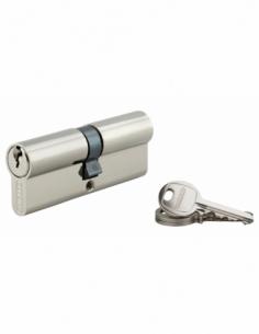 Cylindre de serrure double entrée SA, 40x40mm, anti-arrachement, nickel, 3 clés - THIRARD Cylindre à double entrée
