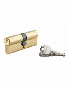 Cylindre de serrure double entrée SA, 40x40mm, anti-arrachement, laiton, 3 clés - THIRARD Cylindre à double entrée