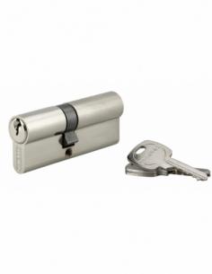 Cylindre de serrure double entrée, 35x45mm, anti-arrachement, nickel, 3 clés - THIRARD Cylindre à double entrée