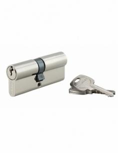 Cylindre de serrure double entrée, 35x40mm, anti-arrachement, nickel, 3 clés - THIRARD Cylindre à double entrée