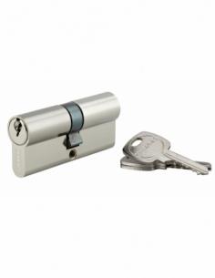 Cylindre de serrure double entrée, 35x35mm, anti-arrachement, nickel, 3 clés - THIRARD Cylindre à double entrée