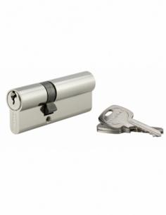 Cylindre de serrure double entrée, 30x50mm, anti-arrachement, nickel, 3 clés - THIRARD Cylindre à double entrée