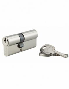 Cylindre de serrure double entrée, 30x40mm, anti-arrachement, nickel, 3 clés - THIRARD Cylindre à double entrée
