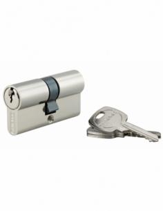 Cylindre de serrure double entrée, 30x30mm, anti-arrachement, nickel, 3 clés - THIRARD Cylindre à double entrée