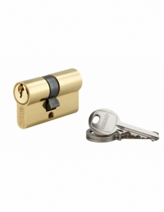 Cylindre de serrure double entrée SA, 27x27mm, anti-arrachement, laiton, 3 clés - THIRARD Cylindre à double entrée