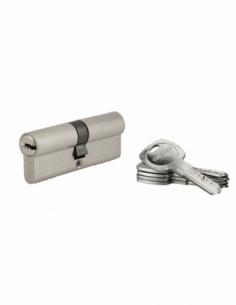 Cylindre de serrure à double entrée Tiger 6, 40x40mm, nickel, anti-arrachement, anti-perçage, 5 clés - THIRARD Cylindre à dou...