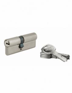Cylindre de serrure à double entrée Tiger 6, 35x45mm, nickel, anti-arrachement, anti-perçage, 5 clés - THIRARD Cylindre à dou...