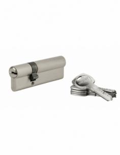 Cylindre de serrure à double entrée Tiger 6, 30x60mm, nickel, anti-arrachement, anti-perçage, 5 clés - THIRARD Cylindre à dou...
