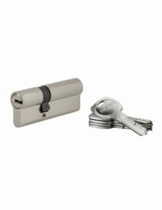 Cylindre de serrure à double entrée Tiger 6, 30x50mm, nickel, anti-arrachement, anti-perçage, 5 clés - THIRARD Cylindre à dou...