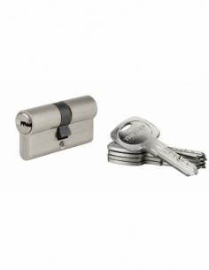 Cylindre de serrure à double entrée Tiger 6, 30x30mm, nickel, anti-arrachement, anti-perçage, 5 clés - THIRARD Cylindre à dou...