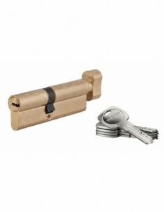 Cylindre de serrure à bouton Tiger 6, 45Bx50mm, laiton, anti-arrachement, anti-perçage, 5 clés - THIRARD Cylindre à bouton