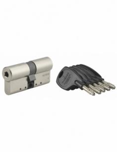 Cylindre de serrure double entrée Cobra 2+, 33x33mm, nickel, anti-crochetage, anti-perçage, anti-casse, 4 clés - THIRARD Cyli...