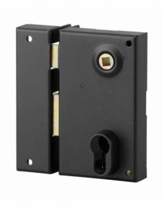 Boitier de serrure verticale en applique double entrée à fouillot pour entrée, gauche, axe 45mm, 73x125mm, noir - THIRARD Ser...
