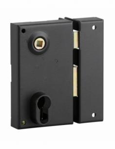 Boitier de serrure verticale en applique double entrée à fouillot pour entrée, droite, axe 45mm, 73x125mm, noir - THIRARD Ser...
