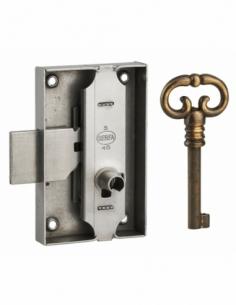 Serrure de meuble en applique pour porte d'ameublement, axe 30mm, 50x80mm, acier poli, 1 clé - THIRARD Serrure de meuble