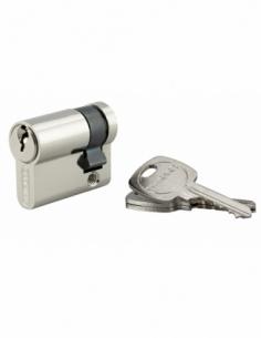 Demi-cylindre de serrure, 30x10mm, anti-arrachement, nickel, 3 clés - THIRARD Demi-cylindre