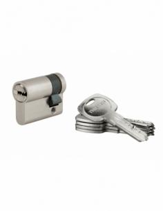 Demi-cylindre de serrure Tiger 6, 30x10mm, nickel, anti-arrachement, anti-perçage, 5 clés - THIRARD Demi-cylindre