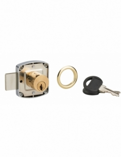 Serrure de meuble en applique pour porte d'ameublement, axe 20mm, 40x40mm, nickelé, 2 clés - THIRARD Serrure en applique