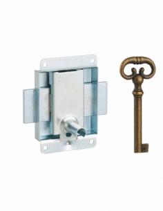 Serrure de meuble en applique pour porte d'ameublement, axe 25mm, 50x60mm, zingué, 1 clé - THIRARD Serrure de meuble