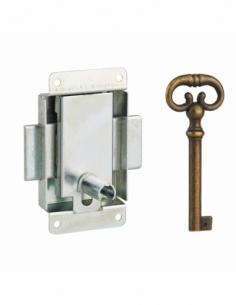 Serrure de meuble en applique pour porte d'ameublement, axe 20mm, 40x50mm, zingué, 1 clé - THIRARD Serrure de meuble
