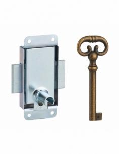 Serrure de meuble en applique pour porte d'ameublement, axe 15mm, 30x50mm, zingué, 1 clé - THIRARD Serrure de meuble