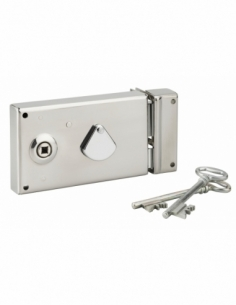Serrure horizontale de grille en applique à clé à fouillot pour portail, gauche, axe 58mm, 140x82mm, inox, 2 clés - THIRARD S...