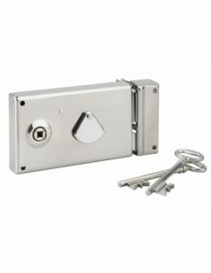 Serrure horizontale de grille en applique à clé à fouillot pour portail, droite, axe 58mm, 140x82mm, inox, 2 clés - THIRARD S...